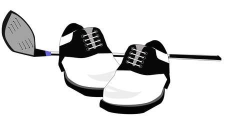 golf stick: Ilustraci�n de una cabeza de controlador de su lado y zapatos de golf aislados