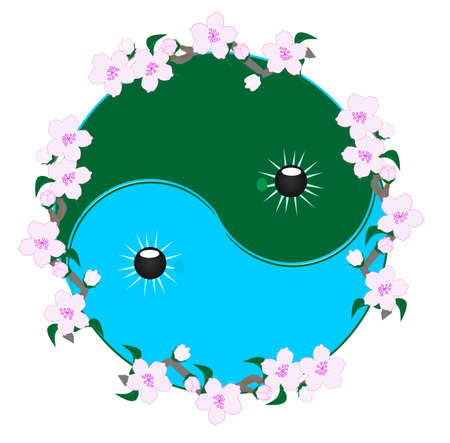 Ying and Yang symbol, surrounded by Cherry blossoms illustration..