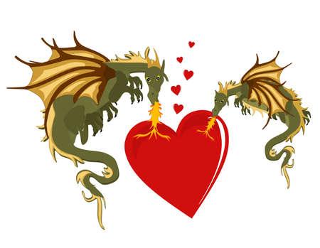 drago alato: Due draghi che riscalda il cuore con loro fiamme di romanticismo... Vettoriali