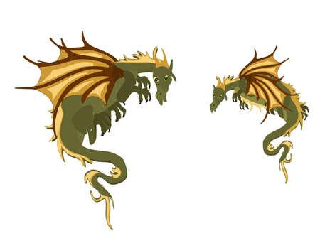 Twee mystieke draken, hangend rond .. Stockfoto - 9716983