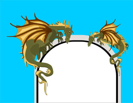 Two mystical dragons, awaiting the arrival of those who dare to go through the gate.. Vector