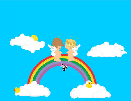 Over the rainbow, and in the clouds, are angels..  Playing and kissing,tranquil moments shared... Vector