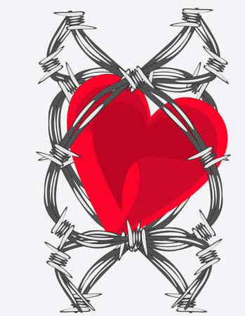 Heart entwined in barb wire.. love or sorrow... Vector