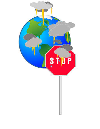 Storms and upheavals, earth is dying, from our misuse.. Stop killing the world... Иллюстрация