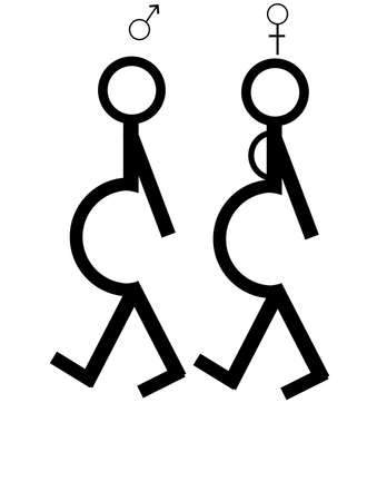 Two stick figures, one is pregnant and the other is a male, with a pot belly...