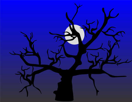 Dying tree, under the full moon sky, sets up a spooky looking tree.. Иллюстрация