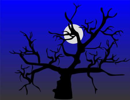 Stervende boom, onder de volle maanhemel, zet een spookachtig uitziende boom op ..