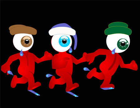 3 running eyes, with the characters running and have tears dripping.. Иллюстрация