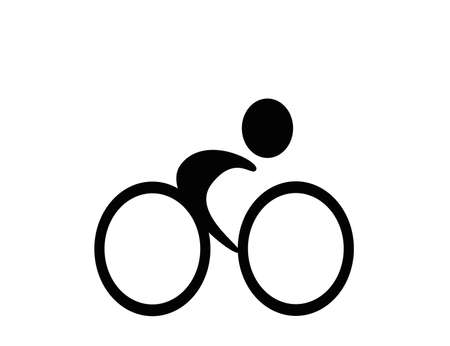 Pictogram of a cyclist in black and white...