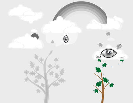 Abstract art concept of things dying off, and rejuvenating to new.  Trees, Eyes, seeing the transition, and creating all what is new.. Ilustração