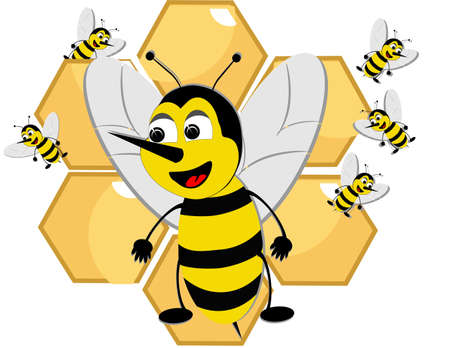 Bizzy bees swarming around honeycomb, protecting the food, and new ones, from danger.. Stock Vector - 9929602