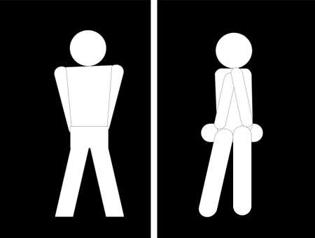 Universal symbols for the bathroom, in white on black. Bathrooms are called by many names... Çizim