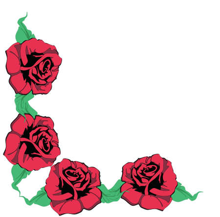 Four red roses, creating a corner for many usages.. Stock Illustratie