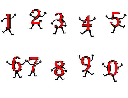 Fun with numbers. Primary numbers, dancing and playing around, to excite the learning of them. Vector