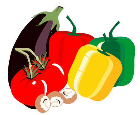 Delicious fresh vegatables, with egg plant, tomatoes, bell peppers of various colours and mushrooms, in a illustration