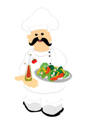 Chef serving up a fresh salad with a cruet of oil and vinegar dressing