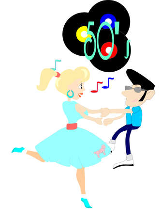 A couple dancing and enjoying the sounds from the 50 s, on the 45 record s that   are being played  Ilustração