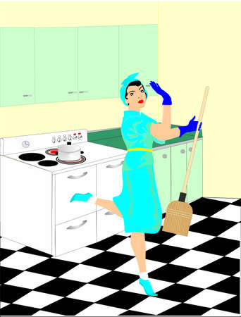 50s: A women in the 50 s is doing her household chores in the kitchen cleaning up This   retro cartoon, shows her happy at her work