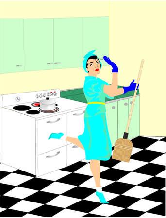 chores: Een vrouw in de 50 s wordt haar huishoudelijke taken te doen in de keuken opruimen Deze retro cartoon, toont haar gelukkig bij haar werk Stock Illustratie