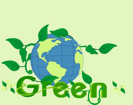 Go Green with world visions and ideas  Go green, with our environment, saving natural resources, like water, and plants Stock Vector - 13513003