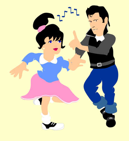 Boy and girl doing the jitter bug to 50 s rock n  roll