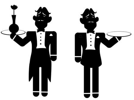 Butlers one bringing  a flower and the other carrying a plate for you to put text or something else on    Stock Vector - 13673497