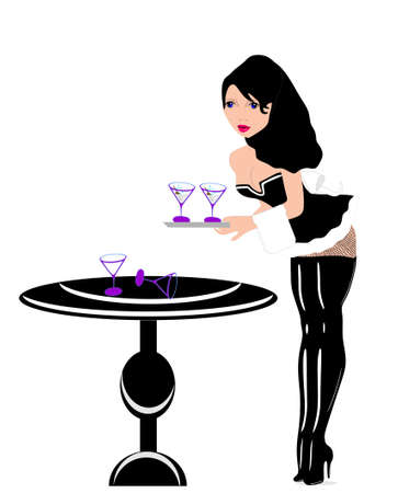 French maid serving martini s, with some glasses spilled over