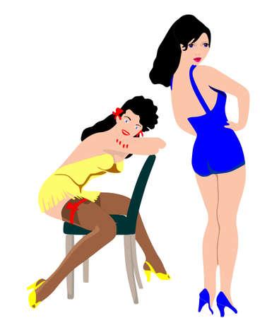 レトロ: 2 人の女性はピンナップのポーズ 1950 s でショットの女の子  イラスト・ベクター素材