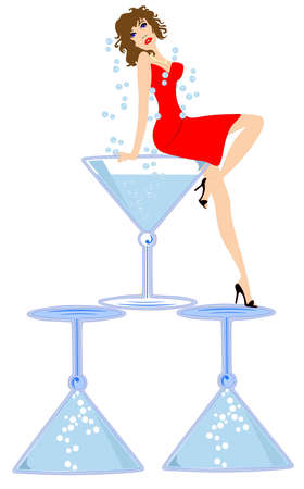 Sultry young lady sitting on  blue martini glasses