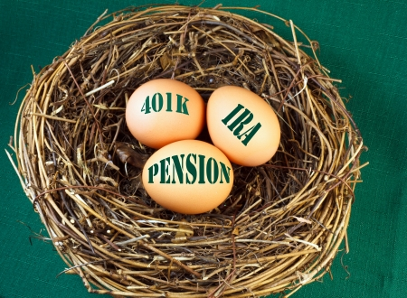 retirement nest egg: Nest with  eggs and the words 401k, IRA, and Penstion for retirement or future financial stability