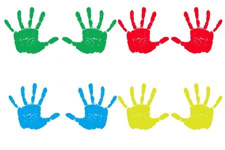 Meerdere handafdrukken in meerdere primaire kleuren en geïsoleerd op een witte achtergrond een rij.