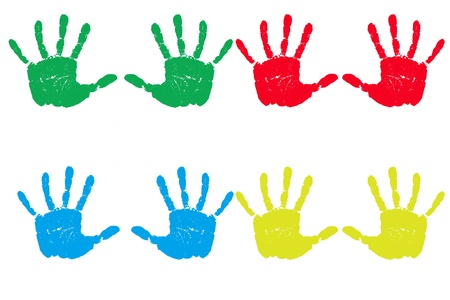 primary colors: Multiple handprints in multiple primary colors and isolated on a white background lined up.