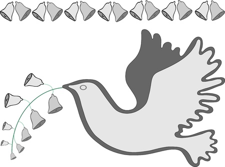 Dove and Bells Illustration in grays and white isolated on white background.