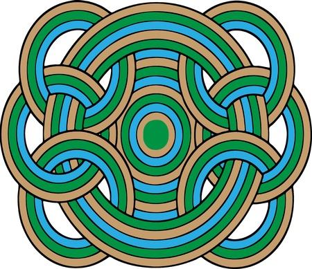 interconnected: C�rculos multicolores geom�tricas interconectadas, en azules, verdes y marrones y aislados en un fondo blanco. Ilustraci�n Vectores