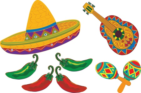 mayo: Sombrero, Guitar, Maracas, peppers isolated on a white background For Cinco de Mayo or Fiesta.  Illustration Illustration