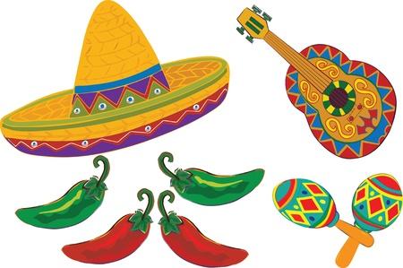 sombrero de charro: Sombrero, guitarra, maracas, pimientos aislados sobre un fondo blanco para el Cinco de Mayo o Fiesta. Ilustración