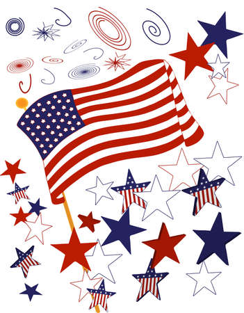 United States Flag with stars and fireworks  向量圖像