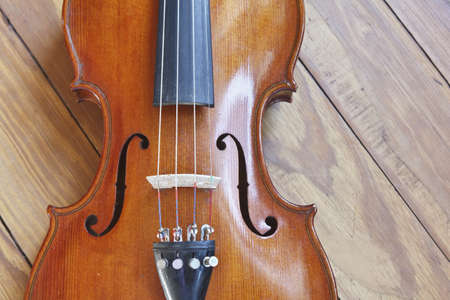 bluegrass: Closeup of the body of a fiddle or violin. Vintage 1950. Stock Photo