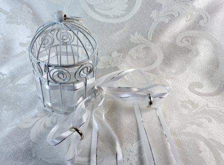 White Cage, Ribbon, and Wedding Bands on a brocade textile. The cage is closed with rings on the ribbon
