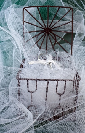 Wedding Rings in an open cage with white tulle Stock Photo - 13777414