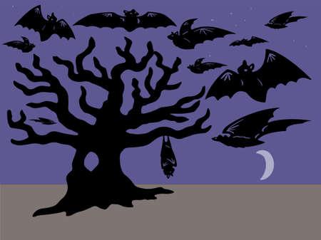 moonrise: Bats flying and Tree at moonrise