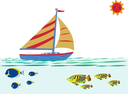 Sailboat on the ocean with fish, the sun and waves Vector