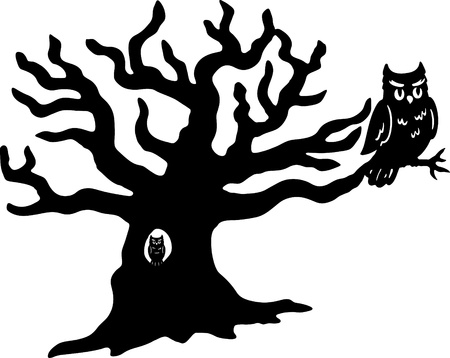 owl illustration: Owls and Tree Vector isolated on a white background