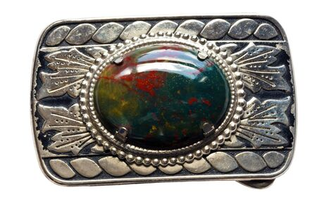 tooled: Bloodstone Silver Decorative Vintage, homemade Belt Buckle isolated on a white background.