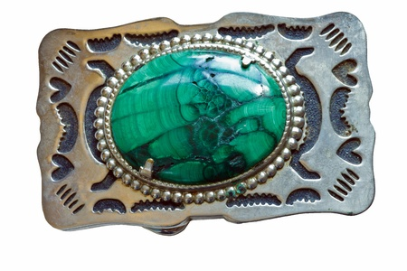 tooled: Malachite Vintage, homemade Belt Buckle isolated on a white background.
