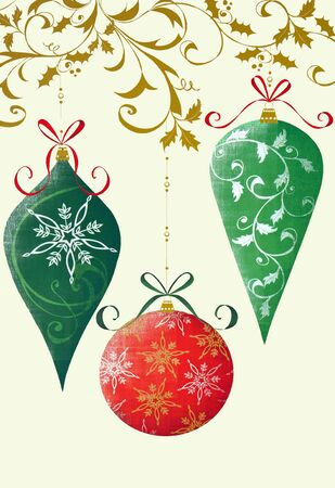 Retro Christmas illustration on a cream  colored background with holly, ribbons, and ornaments