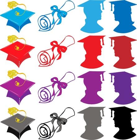 gorro de graduacion: Elementos de la graduaci�n con gorra, diploma de graduados, Ilustraci�n