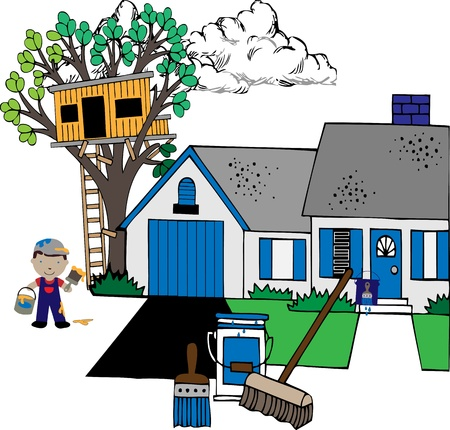craftsmen: Painting the house with paints, house, treehouse, painter, supplies illustration