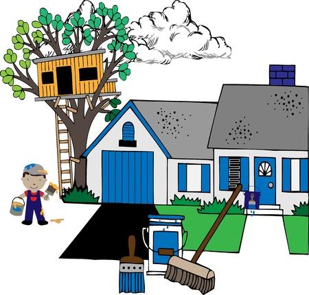 repair man: Pintar la casa con pinturas, casa, casa del �rbol, pintor, suministros de ilustraci�n