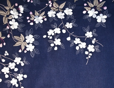 embroidered: Embroidered Flowers, leaves, and stems on denim fabric